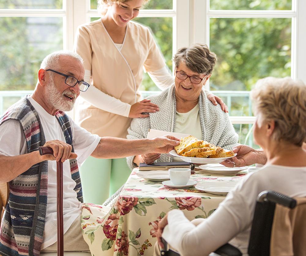 Residents sharing banana bread and coffee