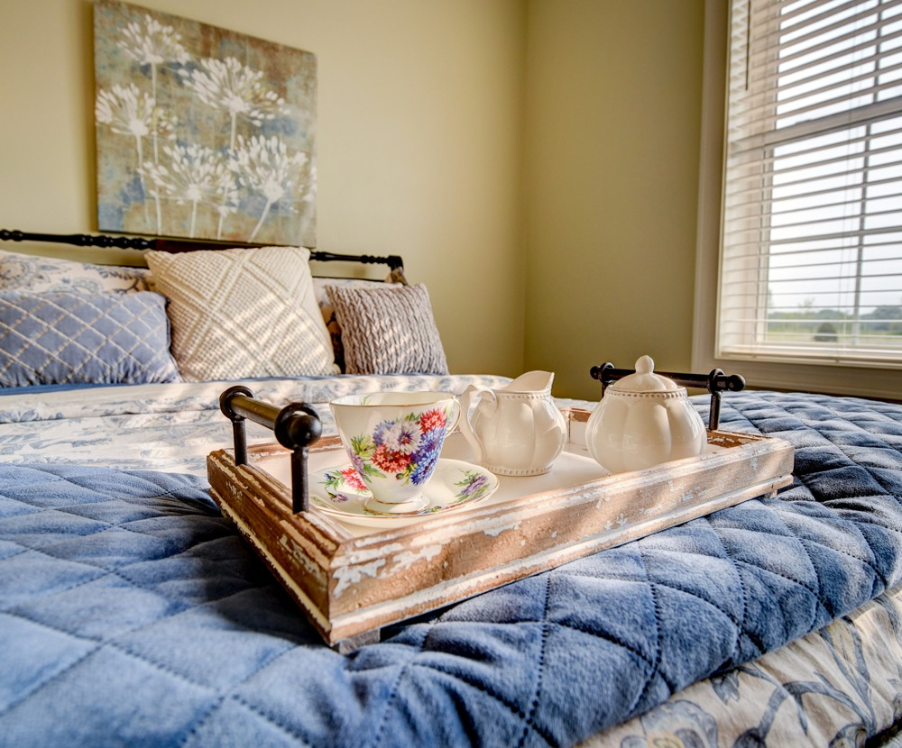 tea service tray on resident's bed